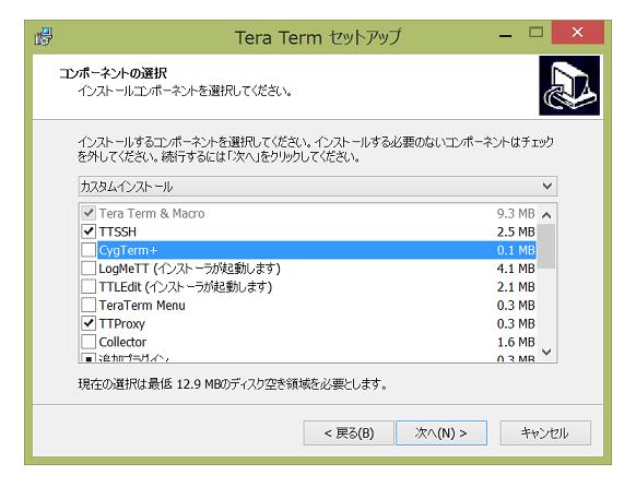 Tera Term セットアップーCygTerm+のチェックは外す