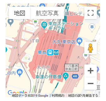 東京駅周辺のGoogle Mapsを埋め込む例のイメージ